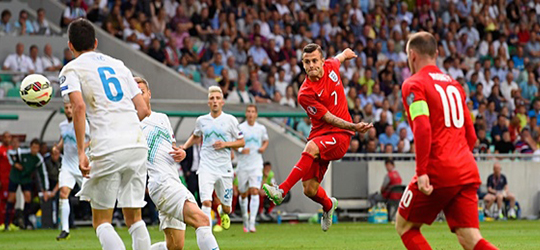 Jack Wilshere keeps England above the water against Slovenia. (Photo: The Guardian)