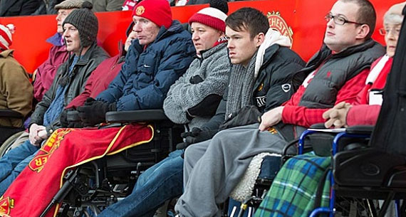 Live football for all - Manchester United Disabled Supporters' Association...  Read More at thenet.ng/2014/07/manchester-united-fc-accused-of-discrimination-against-disabled-fans (Photo: Mudsa via thenet.org