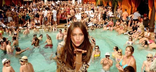 Nevada gaming revenues dropping Tao Beach party